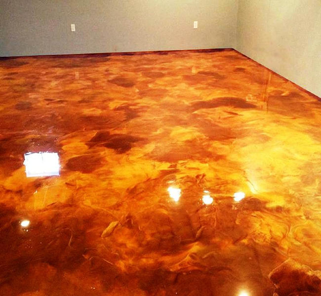Concrete Stained with Gold Metallic Epoxy by Stone Medic