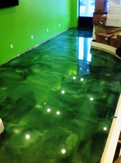 Stone Medic Green Metallic Epoxy Concrete Flooring